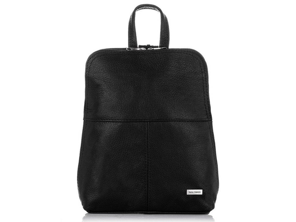 Malý dámský italský kožený batoh PAOLO PERUZZI; černá