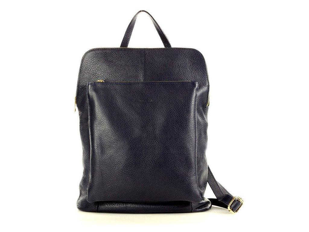 Stylový italský kožený dámský batoh MAZZINI; modrá