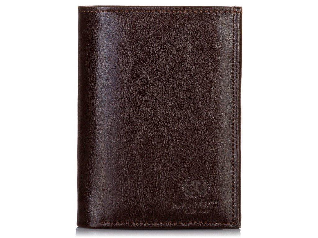Stylová kožená peněženka PAOLO PERUZZI; tmavě hnědá
