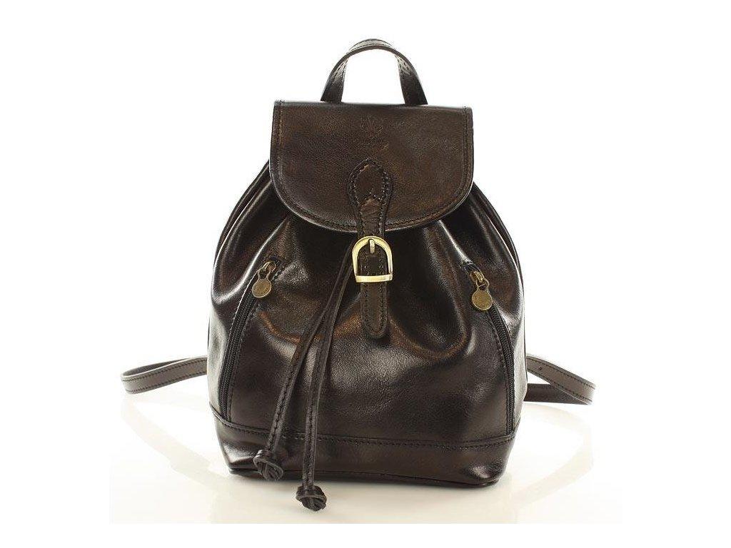 Italský kožený batoh SIMONE; černá