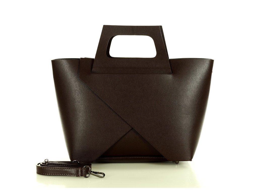 Originální kabelka MARCO MAZZINI shopper košík; tmavě hnědá