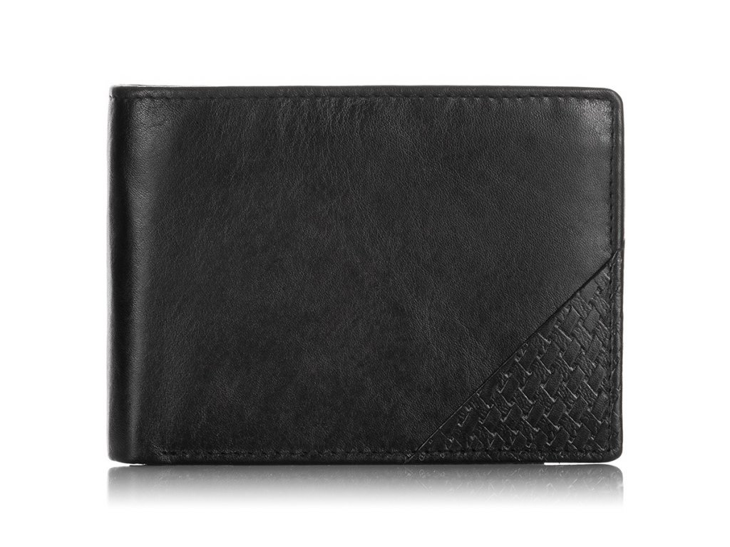 Moderní pánská peněženka kožená; černá
