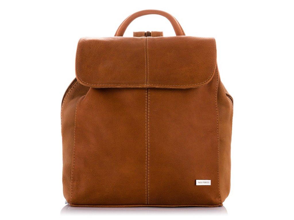 Moderní italský kožený batoh PAOLO PERUZZI; koňak