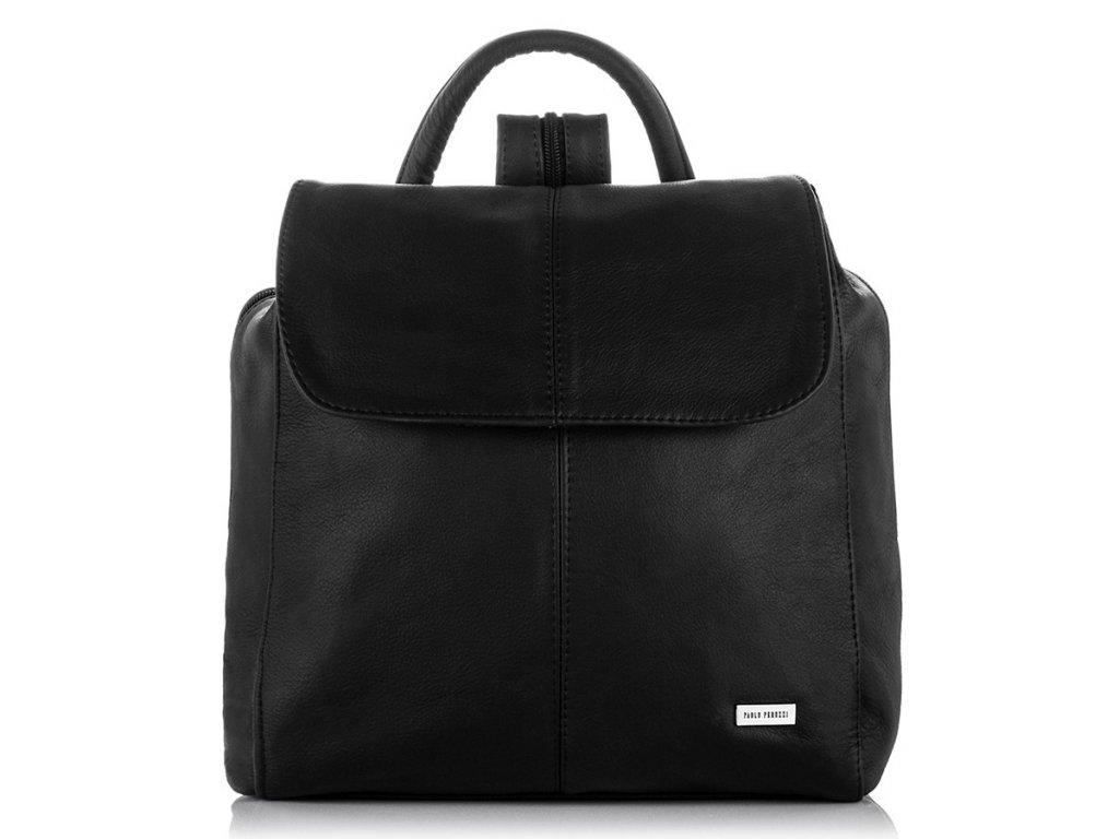 Moderní italský kožený batoh PAOLO PERUZZI; černá