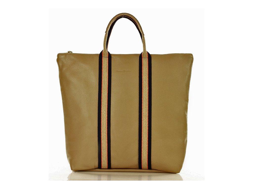 2d8e24e993 MARCO MAZZINI Kožená taška shopper bag batoh béžová cappuccino ...