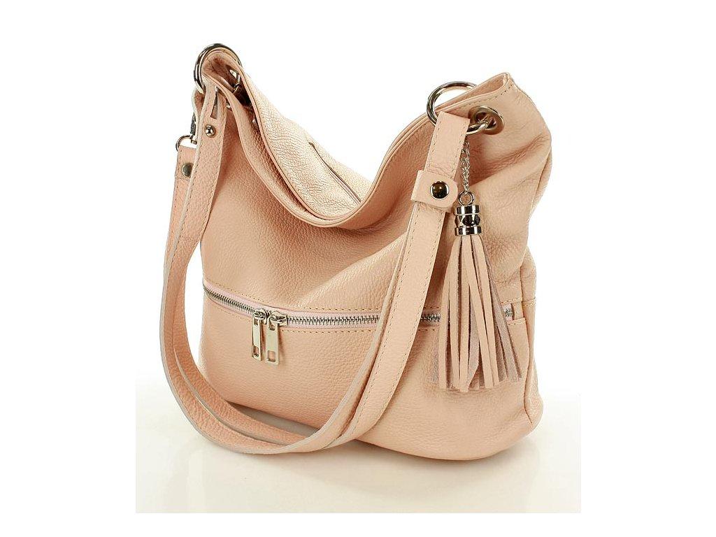Jedinečná italská taška z přírodní kůže na dlouhé rukojeti - růžová Giovanna