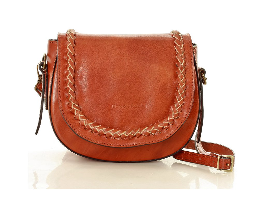 Klasická crossbody taška MAZZINI z přírodní kůže; hnědá