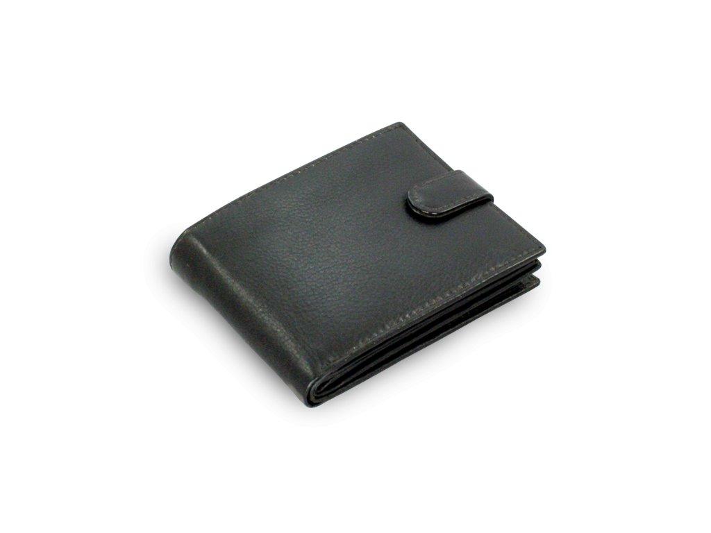 Pánská kožená peněženka černá se zápinkou