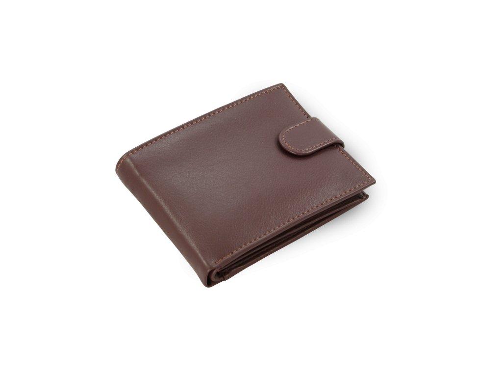 Kožená peněženka pánská hnědá se zápinkou