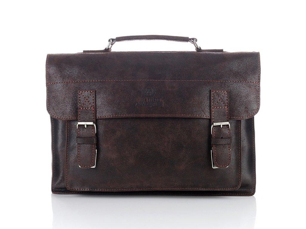 Pánská kožená taška Paolo Peruzzi Adventure; hnědá čokoláda