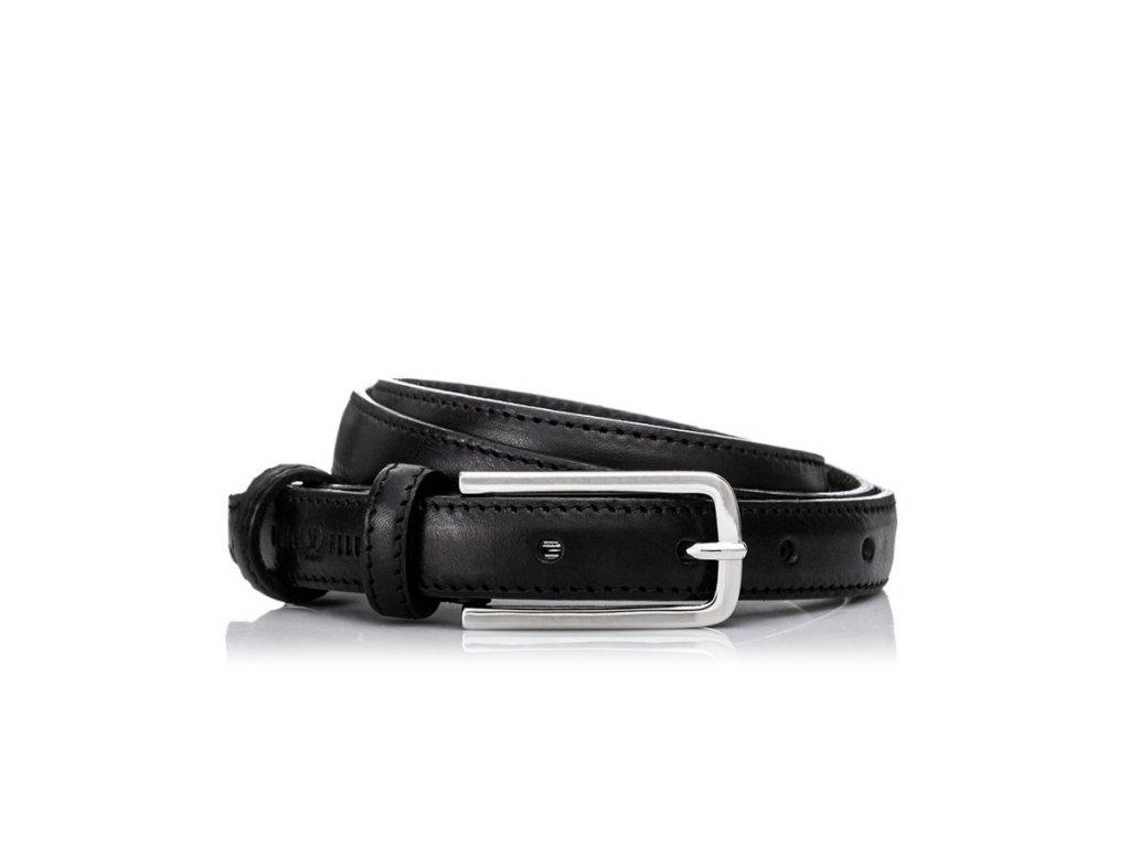 Italský kožený stylový pásek; černá
