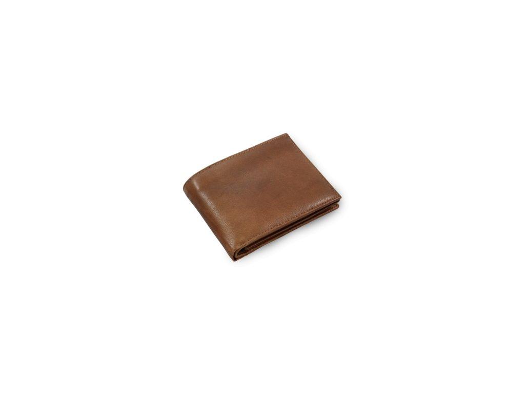 Pánská kožená peněženka s vnitřní zápinkou česká výroba; hnědá