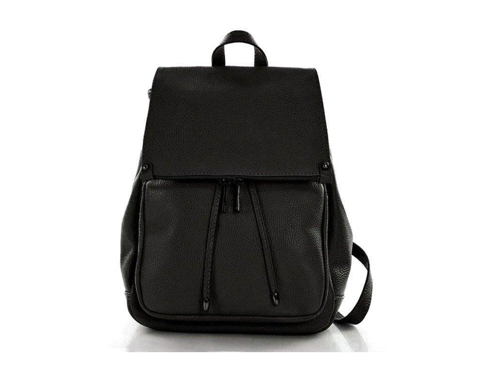Praktický dámský batoh GIORNO pravá kůže; černá
