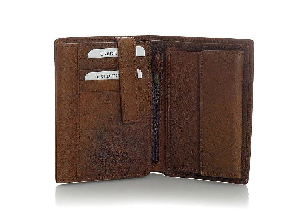 Značková pánská peněženka DAAG z pravé kůže; tmavě hnědá
