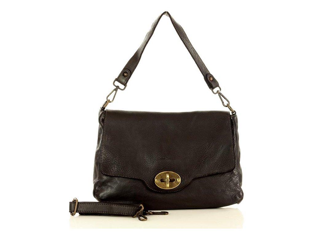 Vintage kožená kabelka MARCO MAZZINI; černá