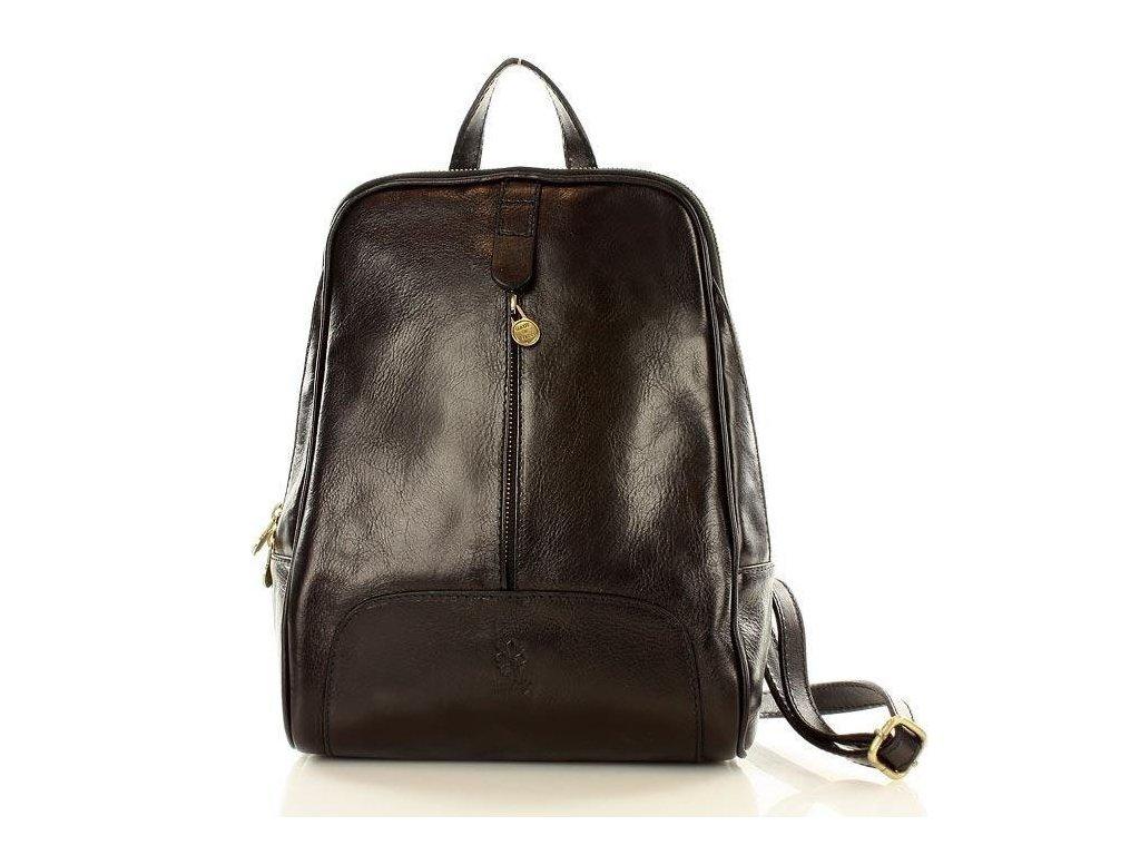 Italský kožený batoh MAZZINI GIRO; černá