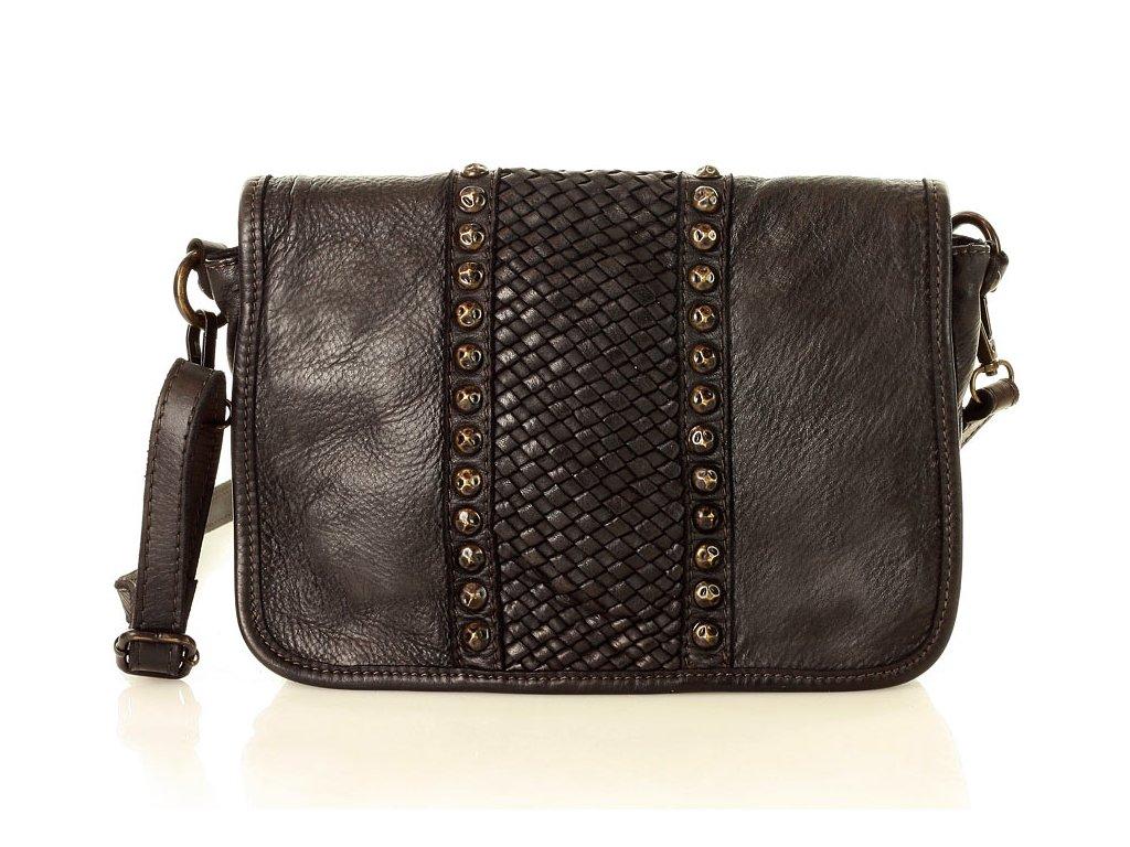 MARCO MAZZINI Kožená kabelka crossbody vintage; černá