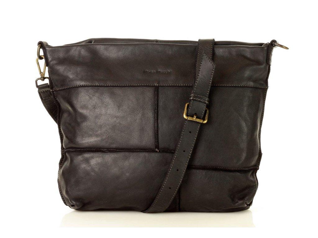 MARCO MAZZINI Kožená kabelka vintage velký pošťák A4 pelle lavata black