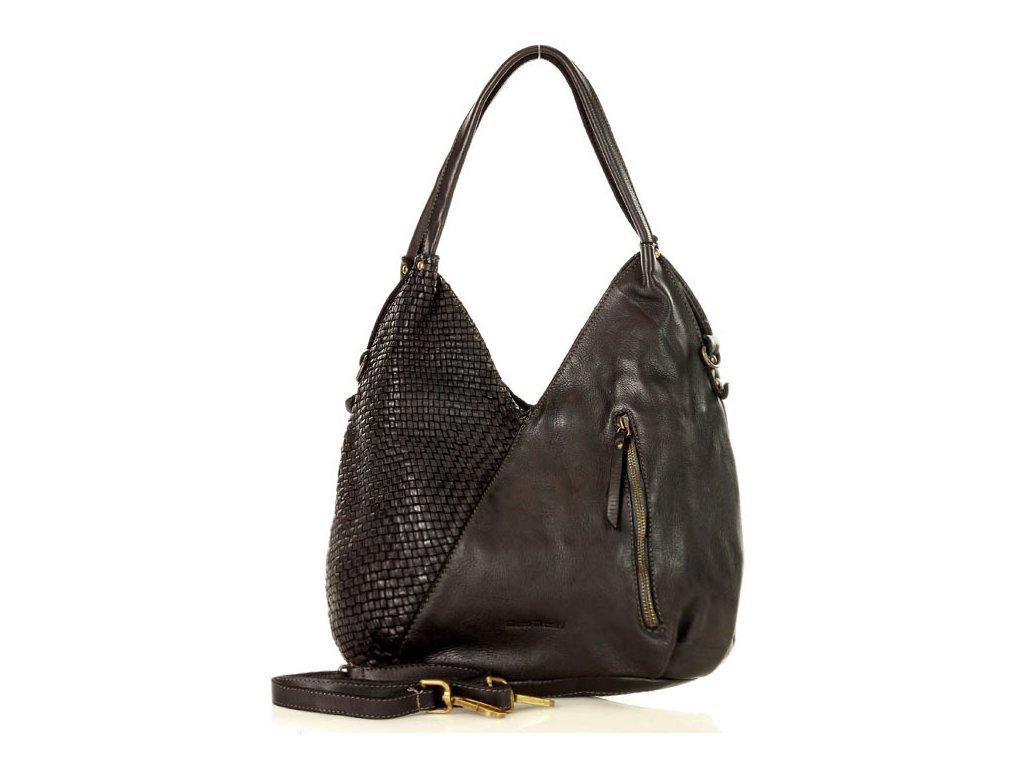 Velká kožená kabelka značky MAZZINI přes rameno; černá