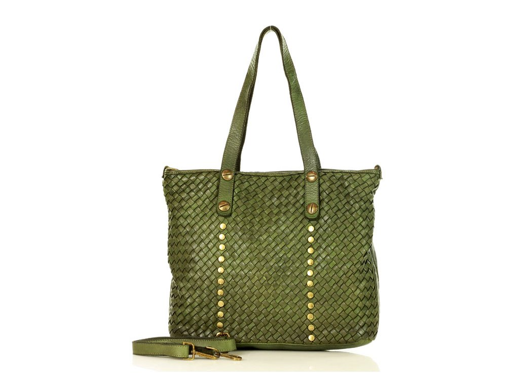 MARCO MAZZINI Kožená nákupní taška stará pelle lavata tmavě zelená