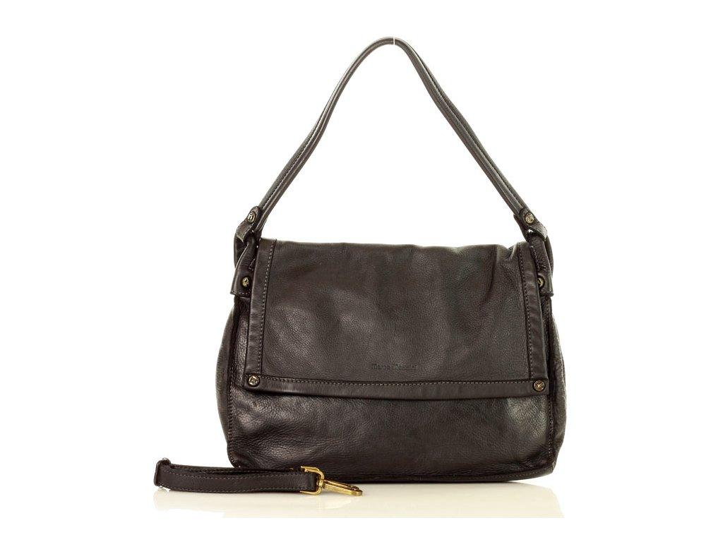 MARCO MAZZINI Kožená kabelka vintage černá