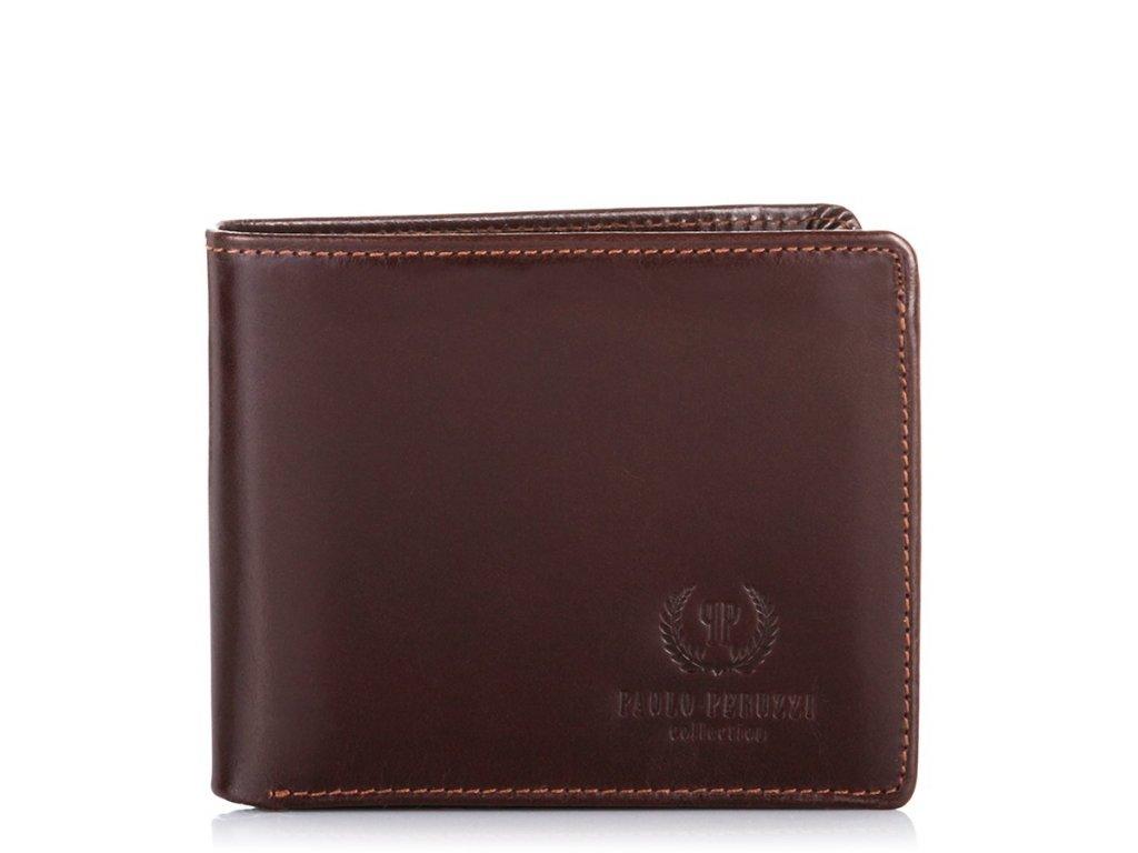 Značková italská pánská peněženka z pravé kůže; tmavě hnědá