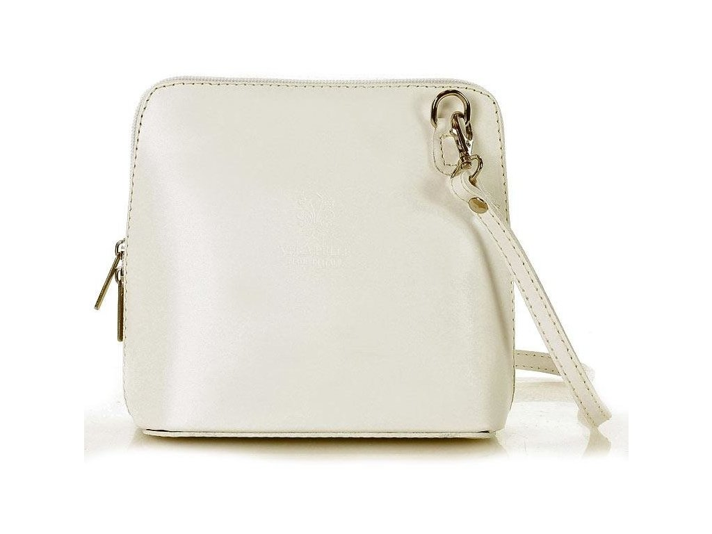 Italská kožená crossbody kabelka MAZZINI; bílá
