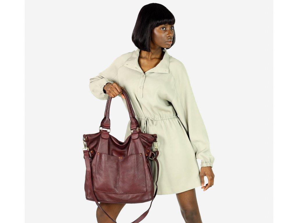 MARCO MAZZINI Kožená kabelka vintage shopper; burgundy