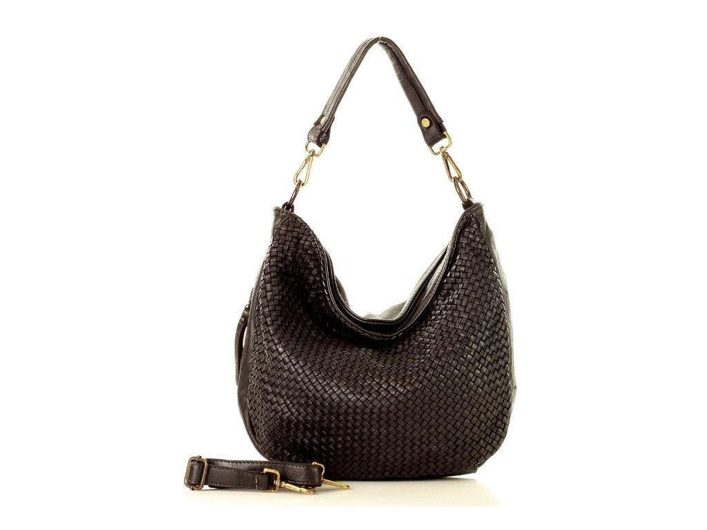 Nadčasová kožená kabelka MAZZINI; černá