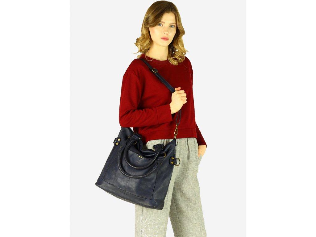 MARCO MAZZINI Kožená kabelka vintage shopper; námořnická modř