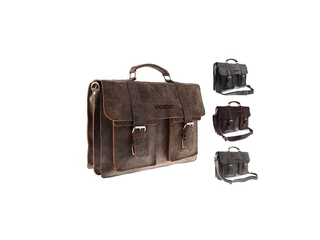 Dvoukomorová kožená taška URBAN
