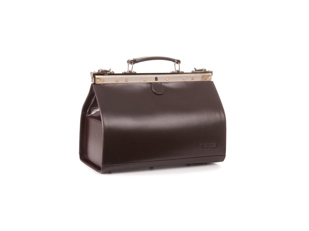 Velký kožený lékařský kufr; hnědá
