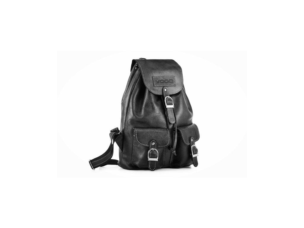 Retro kožený batoh z kůže VOOC; černý