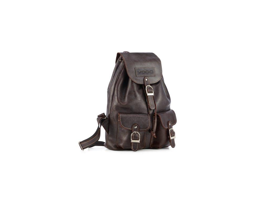 Retro kožený batoh z kůže VOOC; hnědý