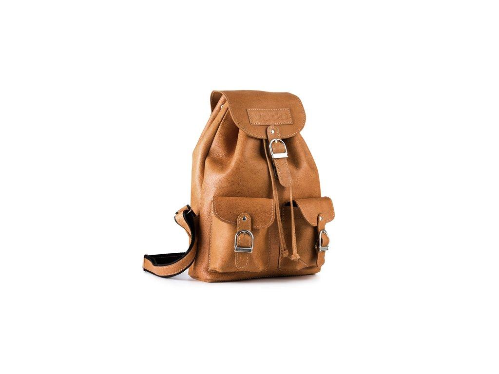 Retro kožený batoh z kůže VOOC LIMITED; velbloud