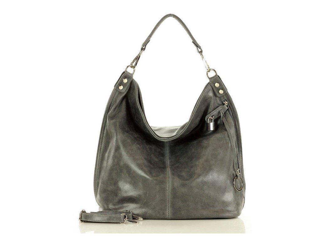 Italská nadčasová stylová kabelka Renella kožená; grafit