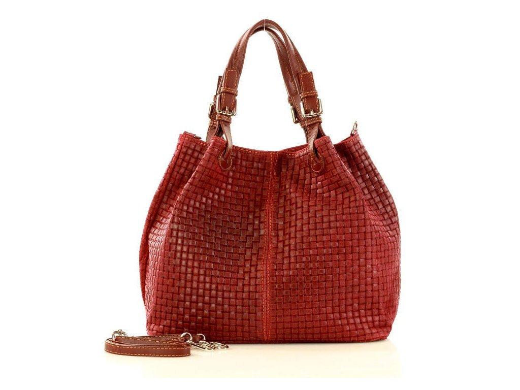 Italská kožená taška MAZZINI GIULIA; červená