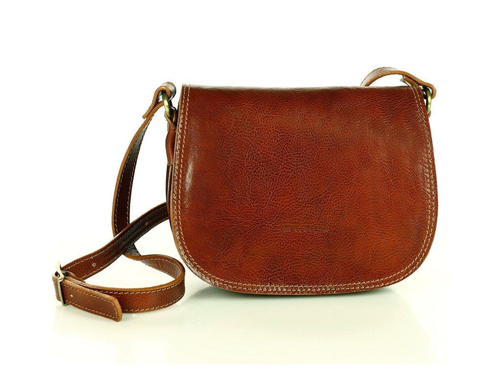 Menší kožená italská crossbody kabelka Mazzini; velbloud