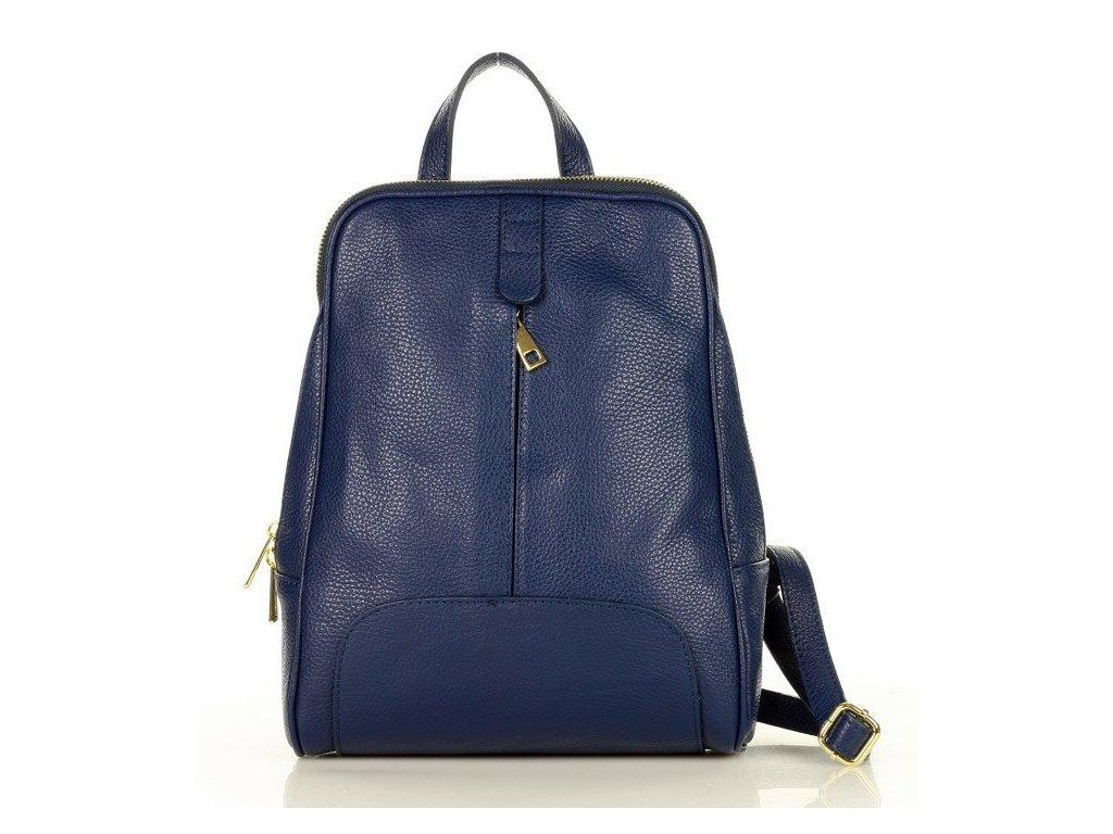 Italský kožený batoh MAZZINI GIRO; tmavě modrá
