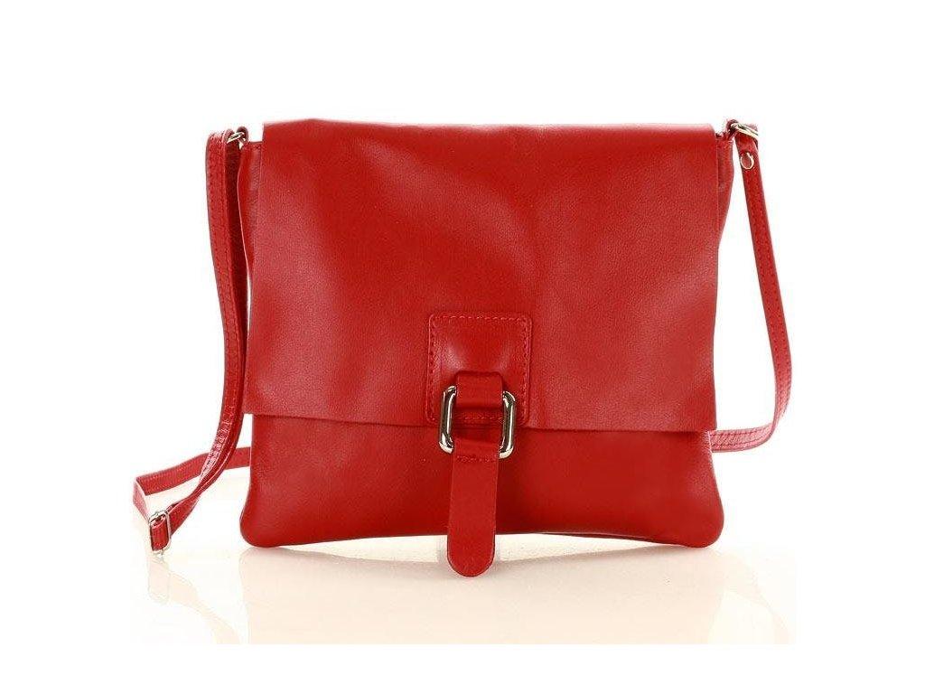 Italská crossbody kabelka MARCO MAZZINI z pravé kůže; červená