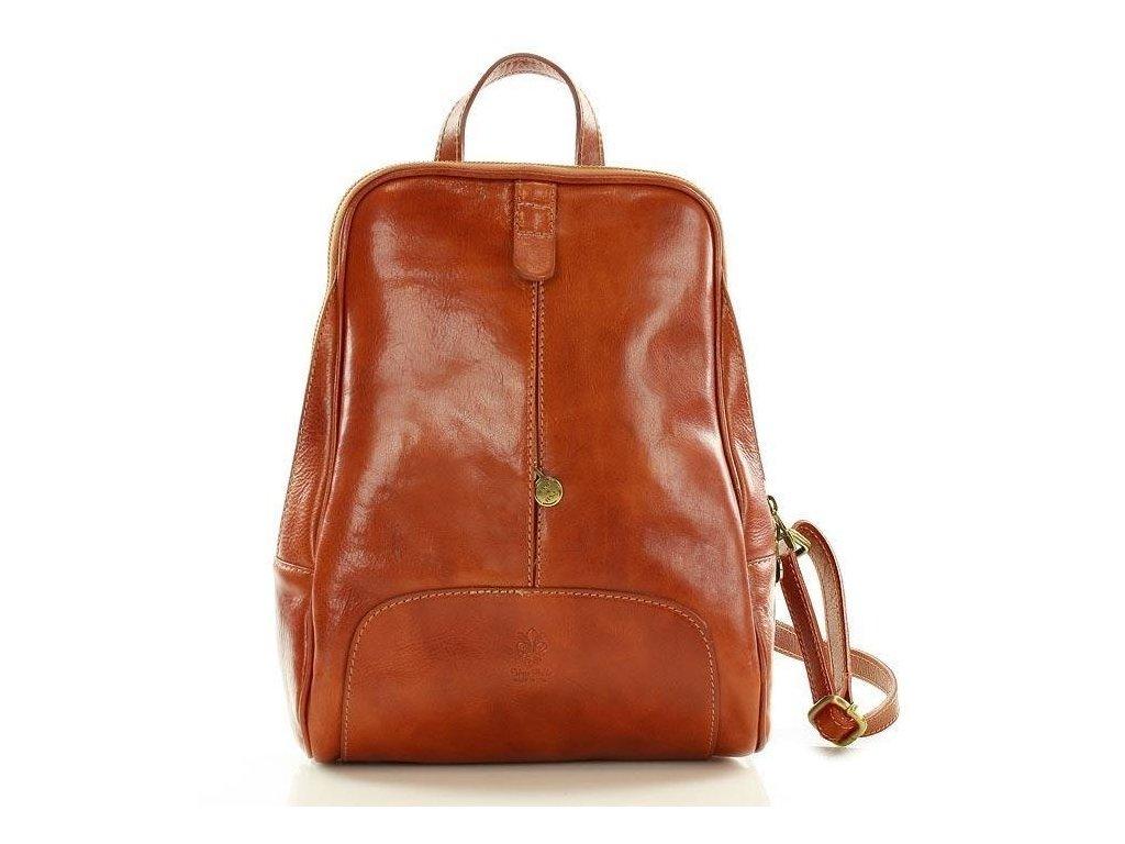 Italský kožený batoh MAZZINI GIRO; velbloud