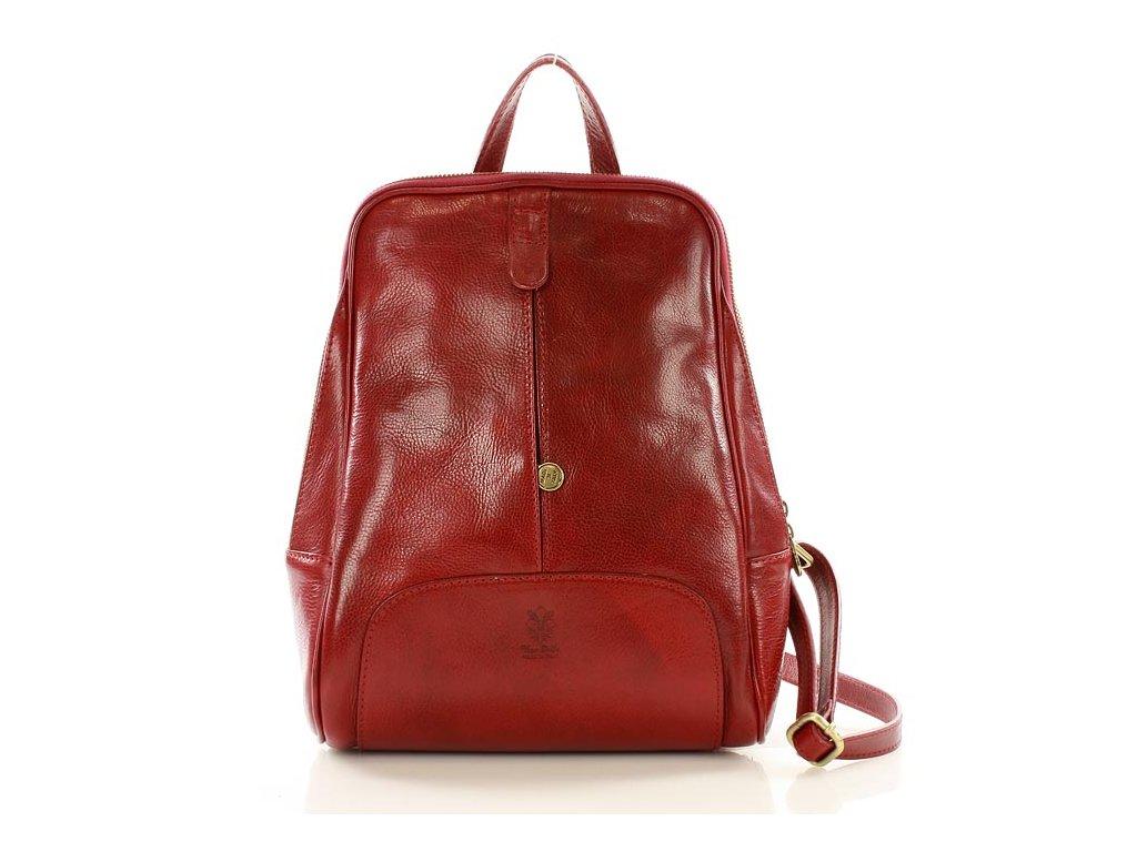 Italský kožený batoh MAZZINI GIRO; červená