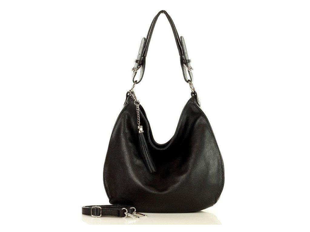 Elegantní italská kabelka MARCO MAZZINI kožená; černá