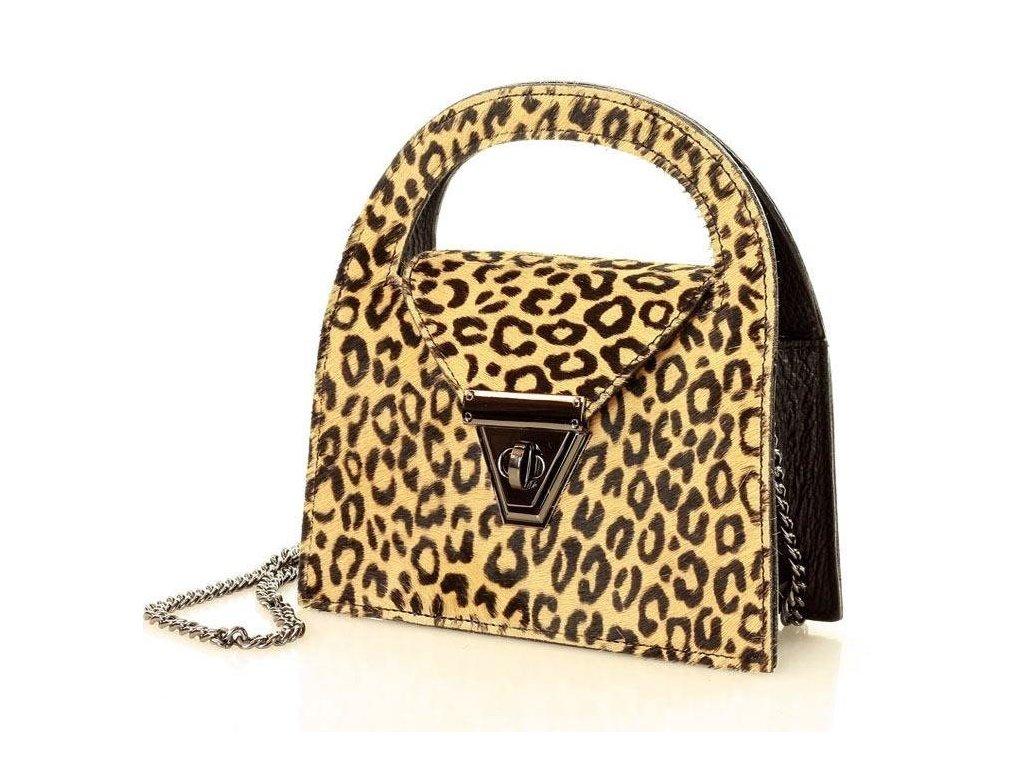 MARCO MAZZINI leopardí kabelka z pravé kůže; leopard