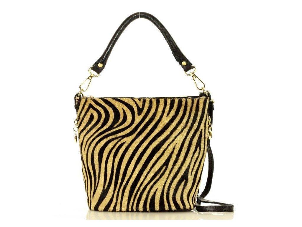 MARCO MAZZINI elegantní italská taška; zebra béžová