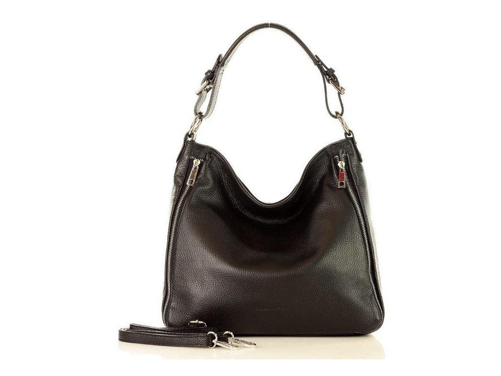 Elegantní italská kožená taška MAZZINI přes rameno; černá