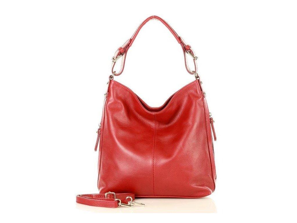 MARCO MAZZINI Elegantní kožená taška přes rameno; červená