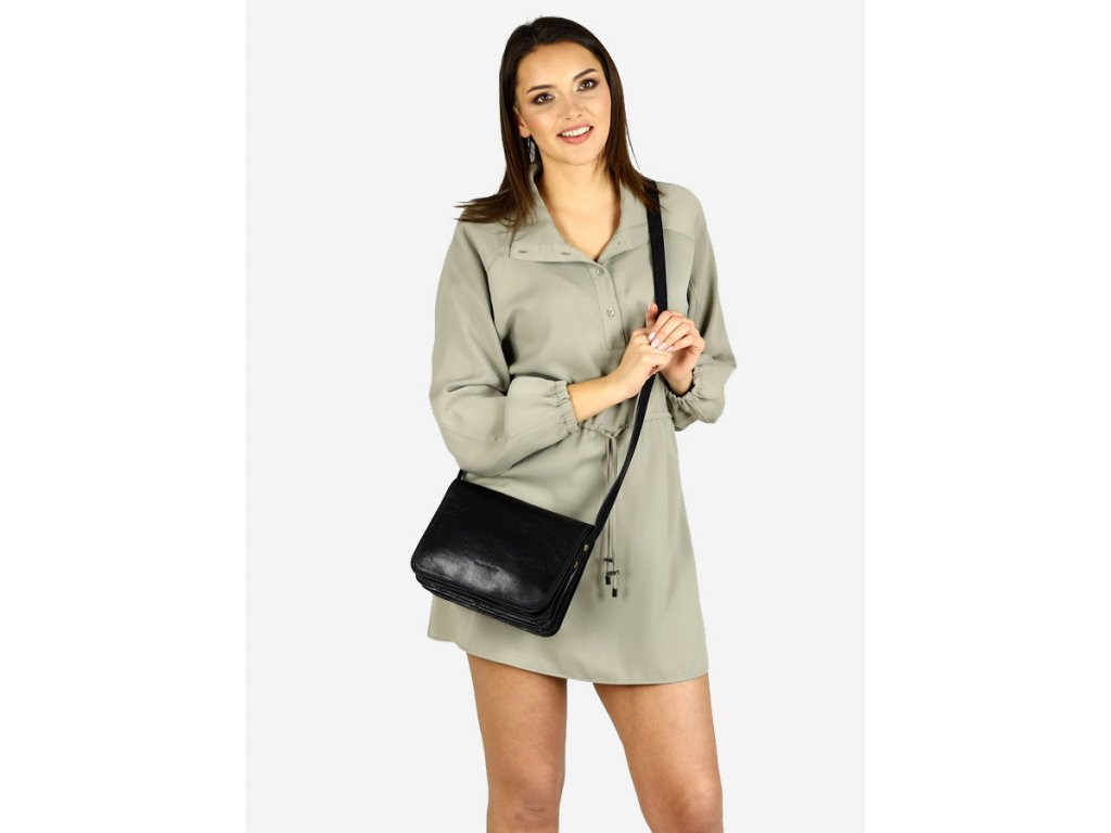MARCO MAZZINI Italská kožená taška klasická velká; černá