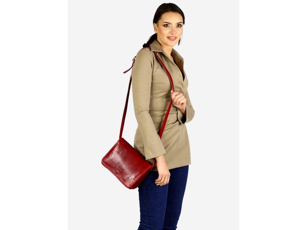 MARCO MAZZINI Italská kožená taška klasická velká; červená
