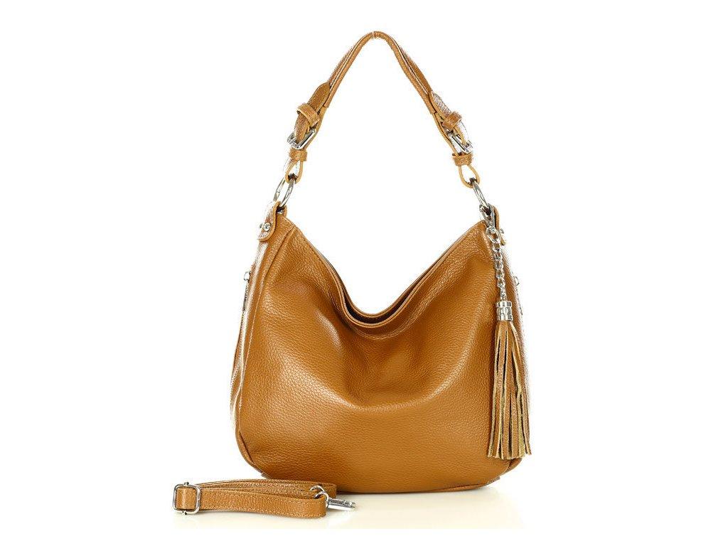 Elegantní městská kožená taška MAZZINI; hnědá